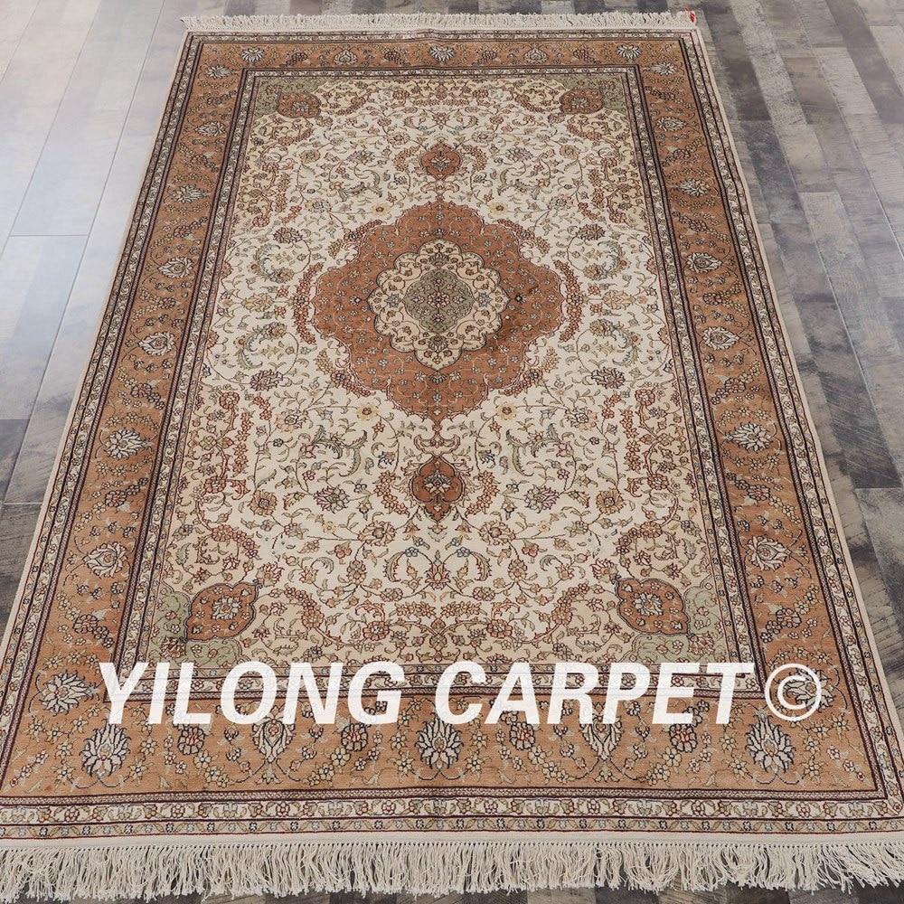 YILONG 5'x8' tapis de soie persan tissé à la main élégant tapis de maison de meubles de cachemire (SL103B5x8)