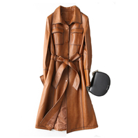 Natural Leather Jacket Sheepskin Coat Women Natural Long Women's Lacquered Jacket Trench Leather Long Women'S Sheepskin Coat