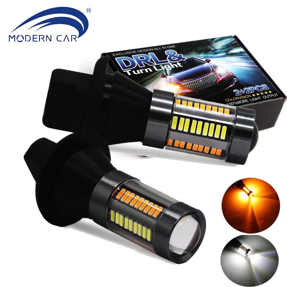 Современный автомобиль двойной Цвет 1156 BAU15S/P21W <font><b>LED</b></font> T20 7440 66SMD Светодиодные лампы поворота DRL свет ошибок canbus с резистор # T20