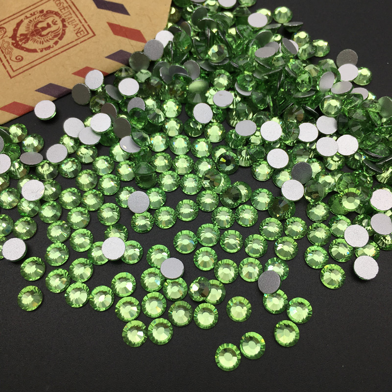 Good Quality Light green DIY Strass Crystal ss3 ss34 Non HotFix Nail Art Flatback Rhinestones for Clothes Decorations in Rhinestones from Home Garden