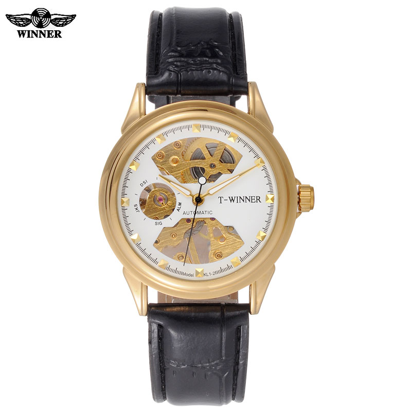men mechanical watches skeleton watches WINNER brand business hand wind wristwatches for men leather strap hot female gift clock winner arrival glass men skeleton watches elegant simple pierced charm mechanical hand wind business and fashion style