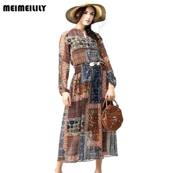 Spring Summer Vintage Women Clothing Elegant Floral Print Chiffon Dress Long Sleeve Elastic Waist Maxi Bohimia Ladies Dresses floral chiffon dress long sleeve