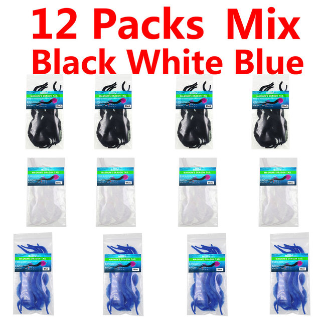 12 Colors 5pcs//bag L Magnum Dragon Tail Pike Saltwater Fly Tying Material