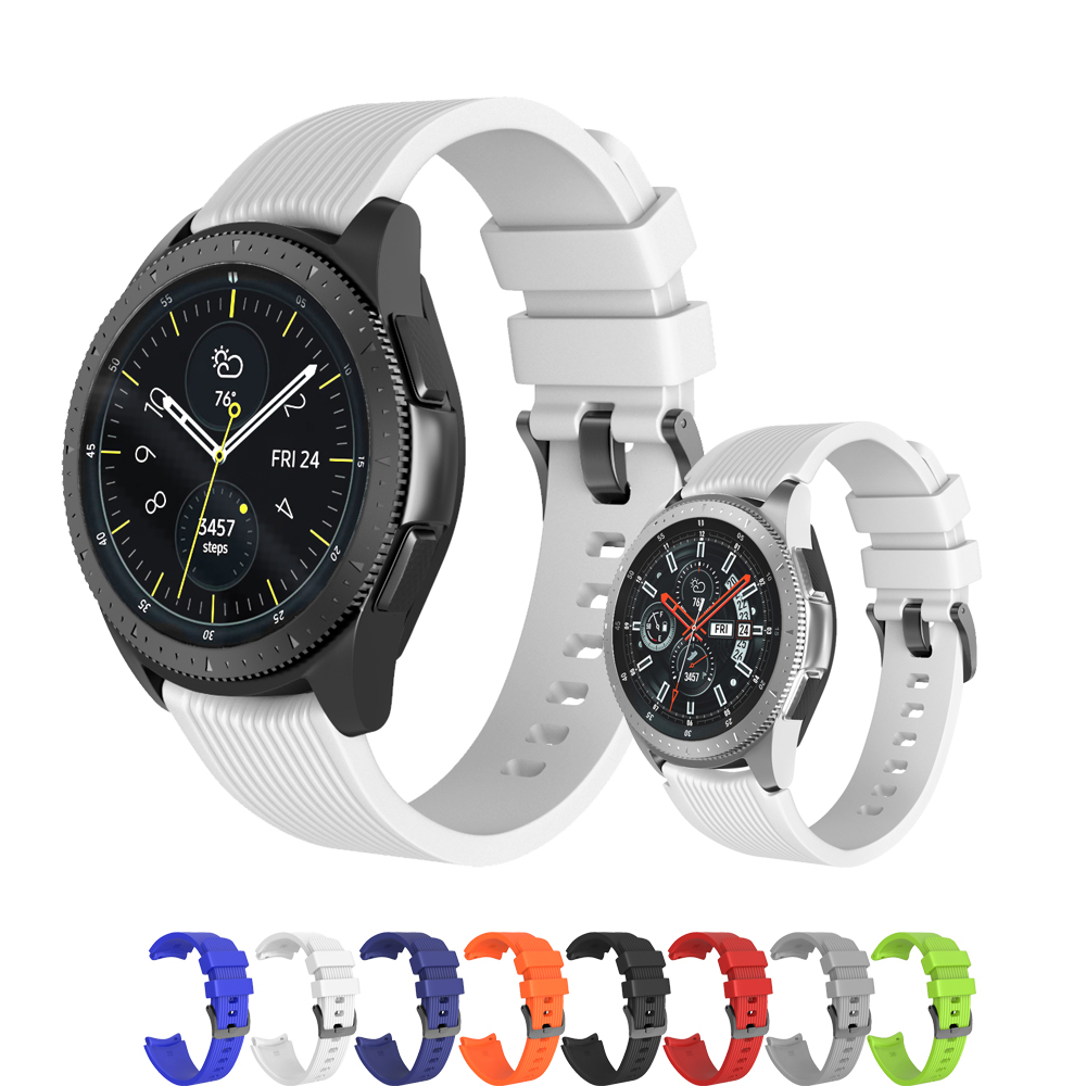 Silicone Watchband for Samsung Galaxy Watch 46mm 42mm Striped Bracelet Band rubber Strap for 20mm 22mm SM-R800 SM-R180