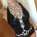Dvacaman Marca 2016 Nueva Único de Crystal Choker Collar y Pendiente de Las Mujeres de La Cadena Body Sexy Declaración Joyería Del Cuerpo O12