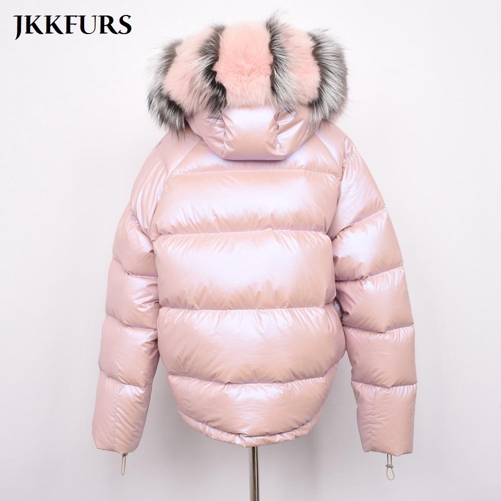 Manteau Downcoat Top Qualité Fourrure Vestes Réel Réversible Fox Femmes Mode Face Black S7482b D'hiver Style Blanc gold pink Double De Canard Col ZZ6qOfBX