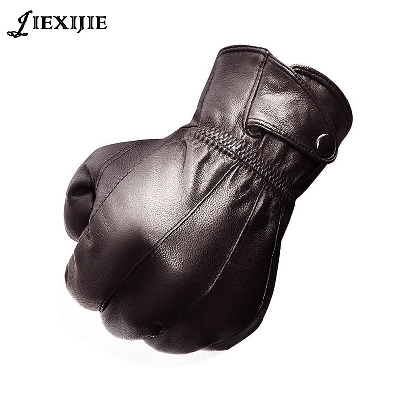 2016 NEW Man Sheepskin Leather Gloves In Winter To Keep Warm And Velvet Thickening Special Business Gifts Leather Gloves Jxj-112