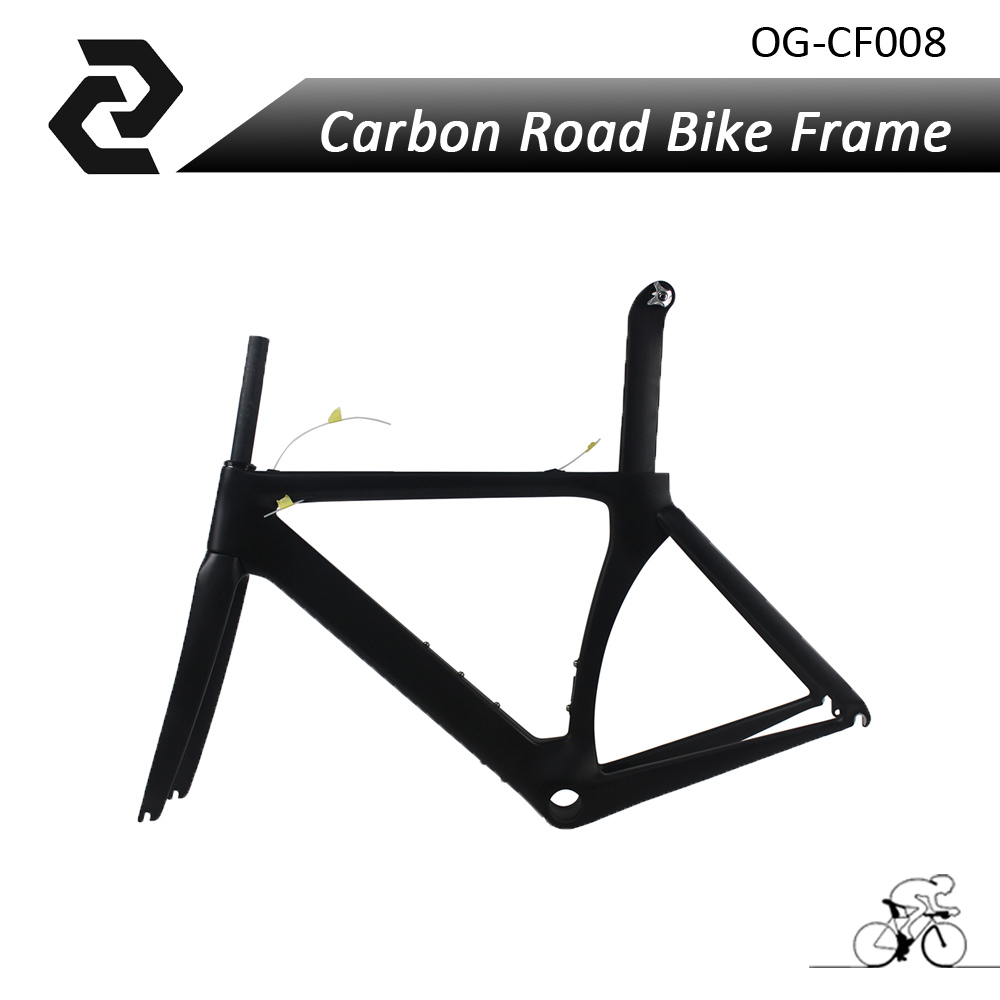 OG-EVKIN Chinese Black Carbon Fiber Road Bike Aero Frame Bicycles Cycling Sports Parts DI2 Glossy/Matt UD 2 Years Warranty og evkin carbon road bike aero frame with integrated handlebar bicycle cycling sports parts bb86 di2 max 25mm tire glossy matt