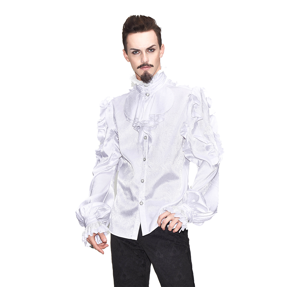 Men's Gothic Steampunk Long Sleeve High Necked Ruffle T Shirts Tops Spring Tee Shirts Punk Blouse Black White-in Tuxedo Shirts from Men's Clothing    1