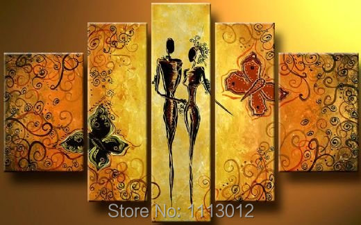 Hand Painted Modern Abstract Nude Women Loving Flower Oil Painting On Canvas Landscape Home Wall Art Decotation High Q. Sale