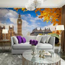 London Big Ben Photo Wall Paper Mural Home Bar Decor Wall Papers Stickers Living Room Bedroom Self Adhesive Vinyl/Silk Wallpaper(China)