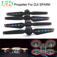 2Pairs Spark LED Flash Propellers Blades Props Rechargeable for DJI Spark Drone 6J9 drop shipping