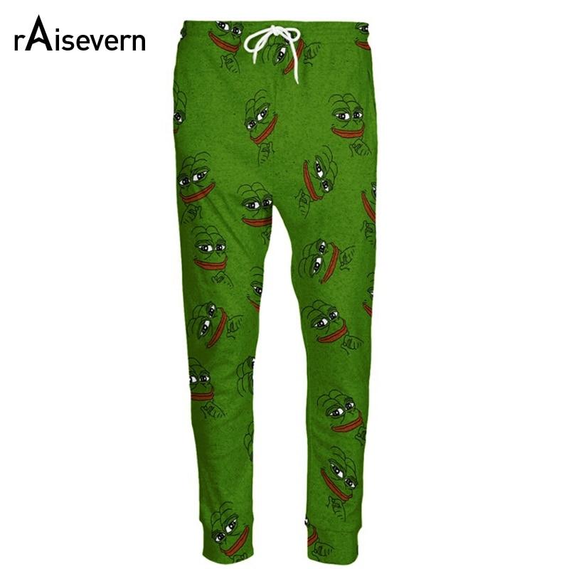 Raisevern Fashion 3D Pepe Frog Joggers Şalvar Kişi / Qadın Gülməli cizgi filmi Şalvar Şalvar Elastik Bel Şalvar Dropship