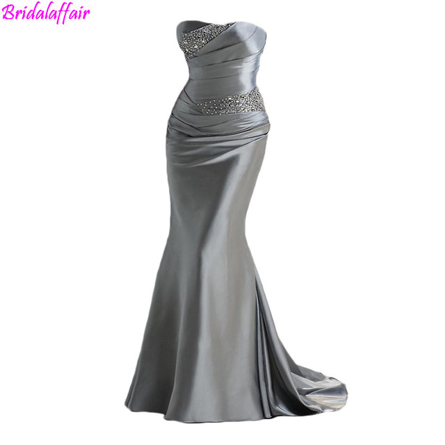 6dfde417ba3 Cheap Beautiful Prom Dresses Mermaid Style 2019 Sweetheart Beaded Satin  Silver Girls Dress Formal Evening Gowns For Women
