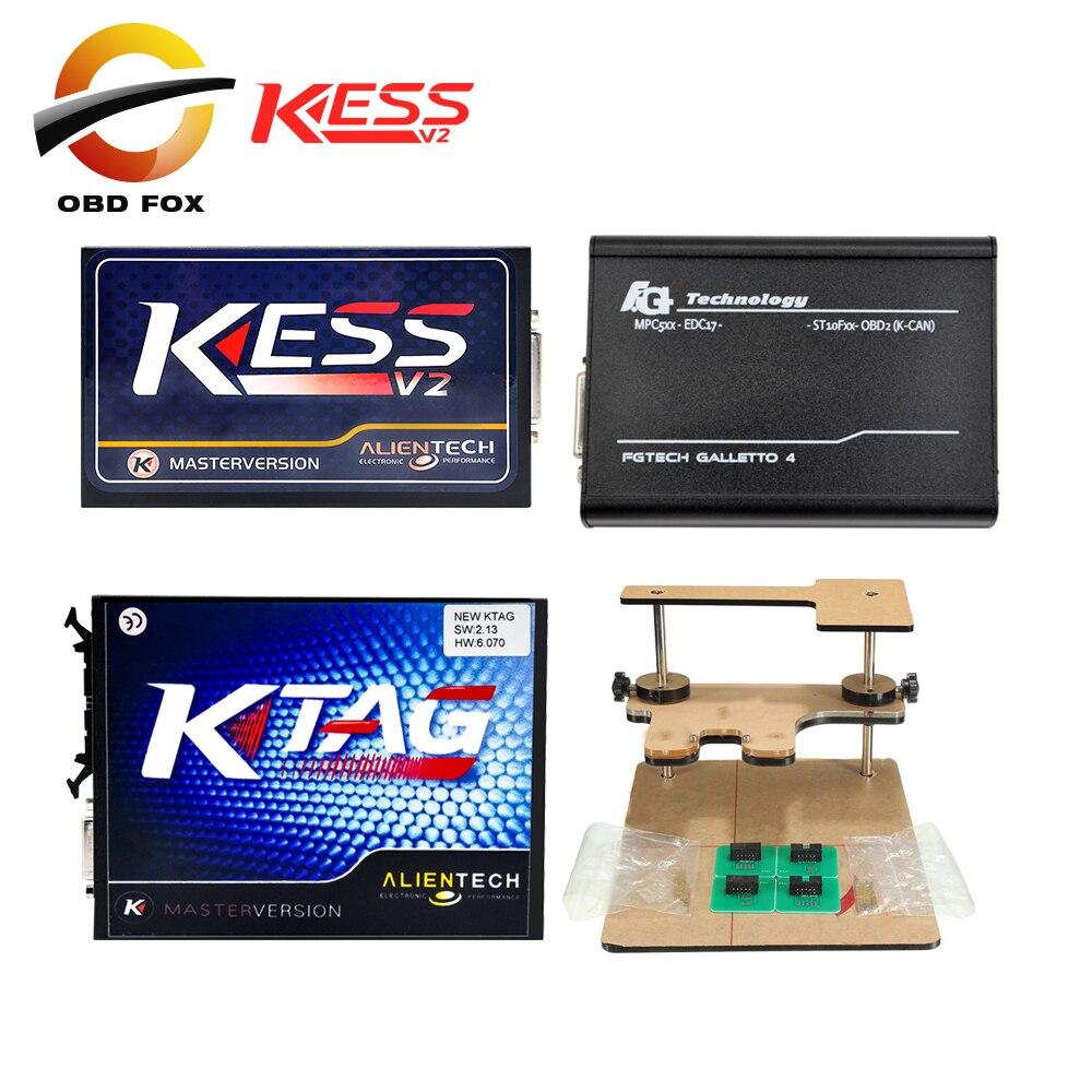 Цена за KESS V2 V4.036 V2.23 OBD2 менеджер + K-TAG 2.13 FW6.070 KTAG К тег ЭКЮ программист + FGTECH Galletto 4 Мастер V54 + BDM Рамки адаптер