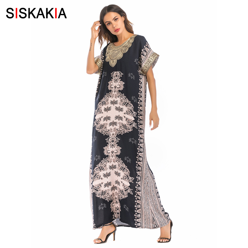 Siskakia Vintage ethnic Embroidery print patchwork long dress summer 2018 urban casual Women dressing gowns retro