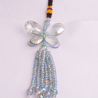 DIY Car Crafts Green Crystal Butterfly Hanging pendant Car Ornament Car Rear View Mirror