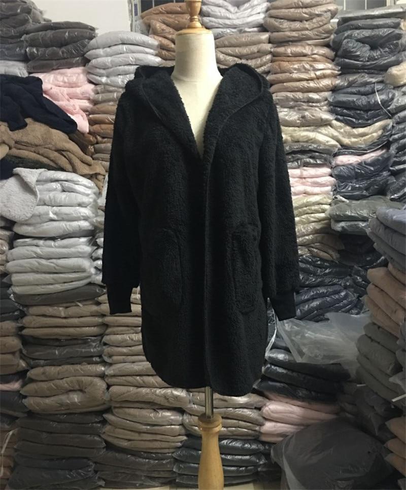 HTB1QPcZO4naK1RjSZFBq6AW7VXaL S-5XL Faux Fur Teddy Bear Coat Jacket Women Fashion Open Stitch Winter Hooded Coat Female Long Sleeve Fuzzy Jacket 2018 Hot New