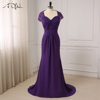 ADLN New Arrival Purple Mother of the Bride Dresses Cap Sleeve Pleats Body Chiffon Formal Party Mother of the Groom Dresses