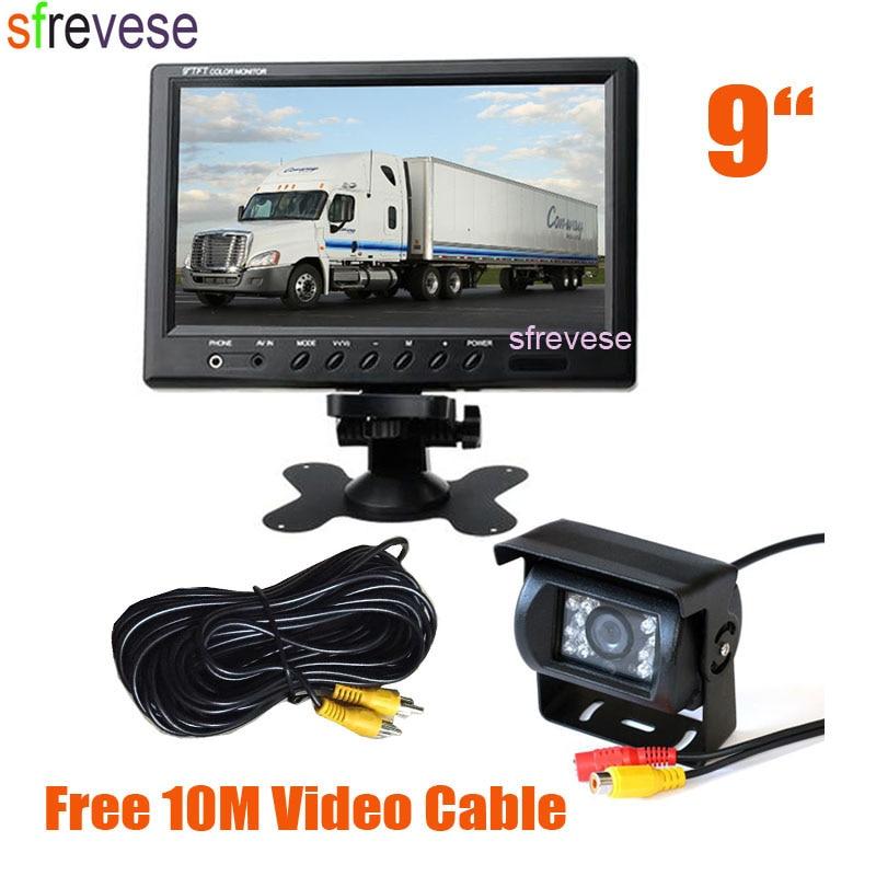 9 LCD Monitor Car Rear View Kit 18 LED IR Night Vision Parking Reversing Backup Camera