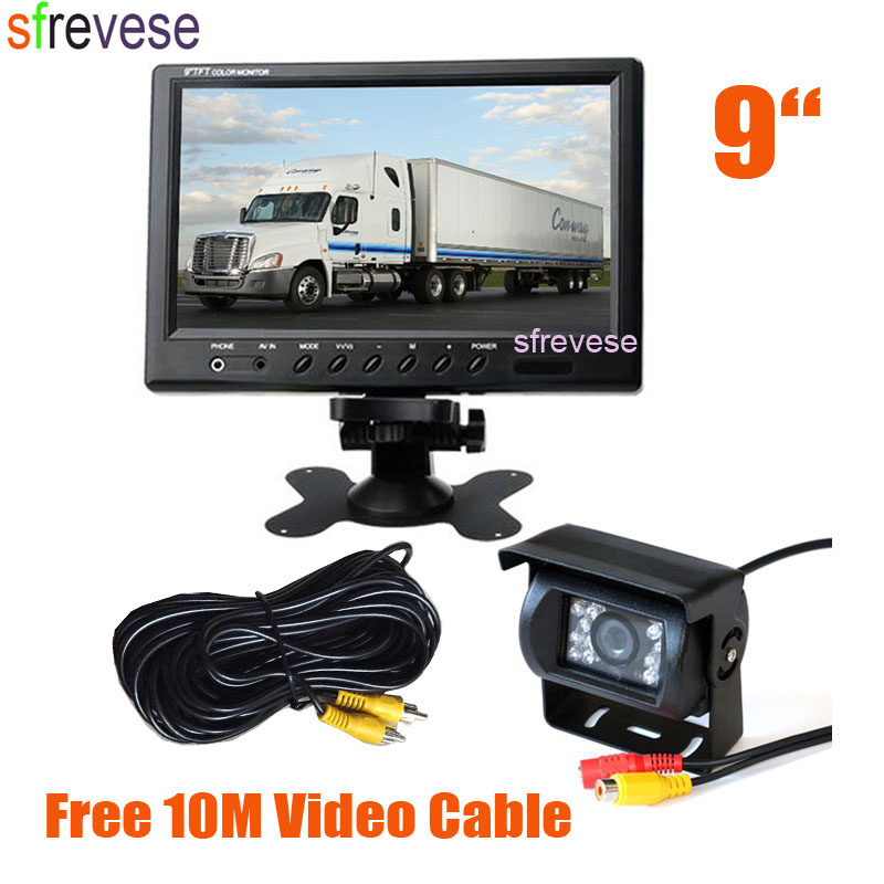 9 LCD Monitor Car Rear View Kit + 18 LED IR Night Vision Parking Reversing Backup Camera for Long Bus Truck Motorhome ir led car rear view ip network camera 720p backup reversing parking rearview cam night vision waterproof for truck bus page 1