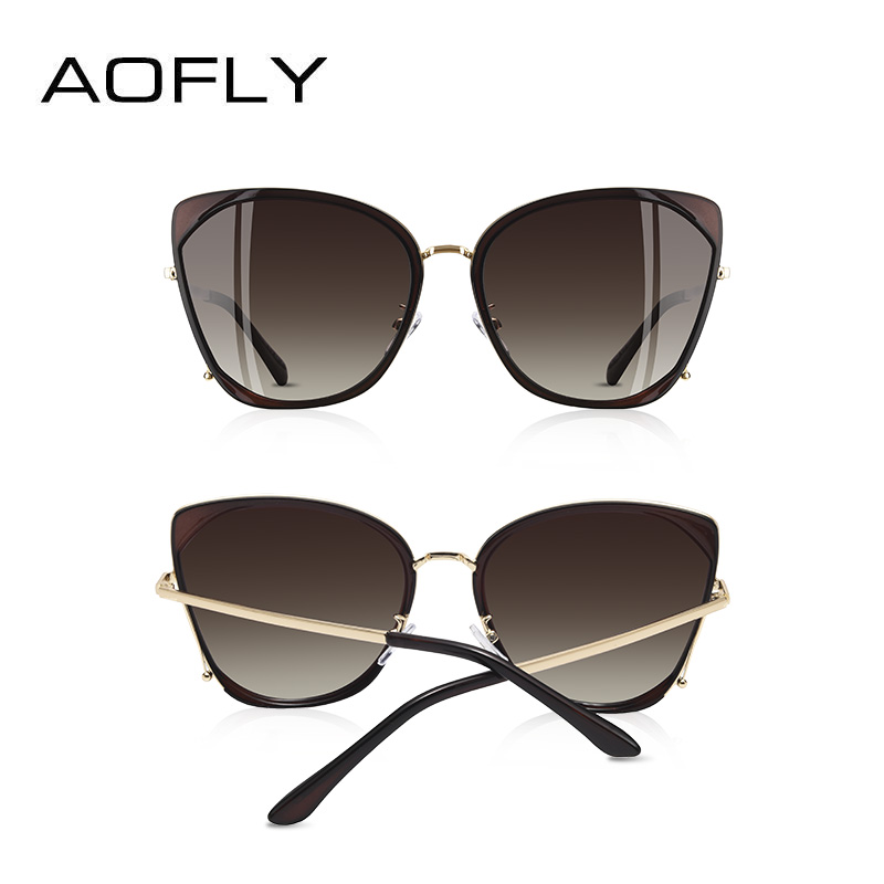 Image 4 - AOFLY BRAND DESIGN Fashion Ladies Cat Eye Sunglasses Women Polarized Sunglasses Female Unique Frame Gradient Lens UV400 A155-in Women's Sunglasses from Apparel Accessories on AliExpress