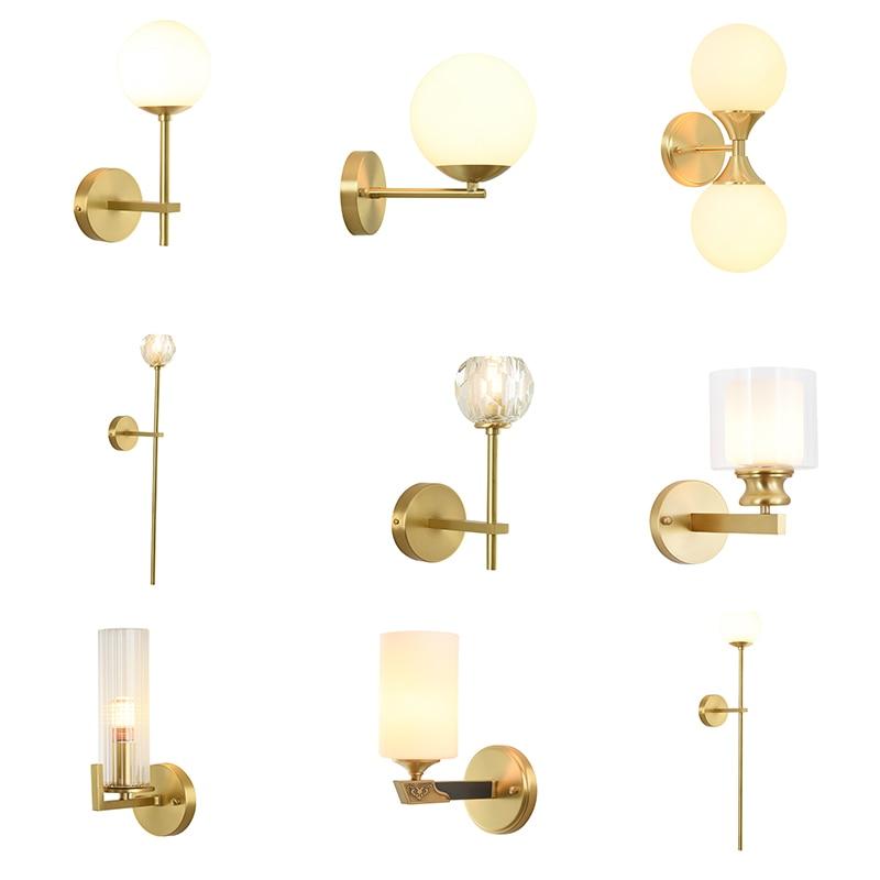 Plein cuivre livraison gratuite moderne applique murale mode mur doré moderne appliques cristal doré luxe applique