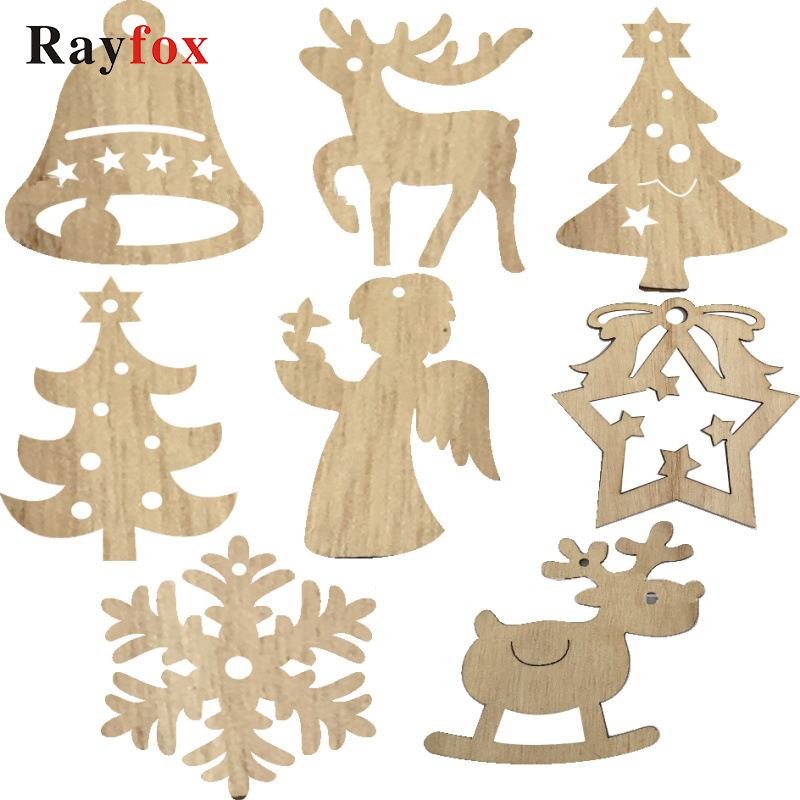 Wooden Christmas Tree Hanging Xmas Ornaments DIY Wood Crafts Home Party Decor