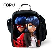 FORUDESIGNS Picnic Cool Bag for Kids Anime Ladybug Miraculous Printing Thermal Insulated Travel Portable Food Bag Girls Bolsos