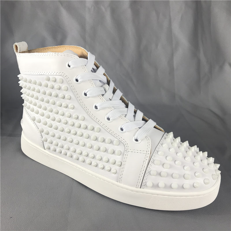 Men's Fashion Sneakers Spike High top Flat Shoes F.N.JACK Louis White Leather Trainers Red bottom