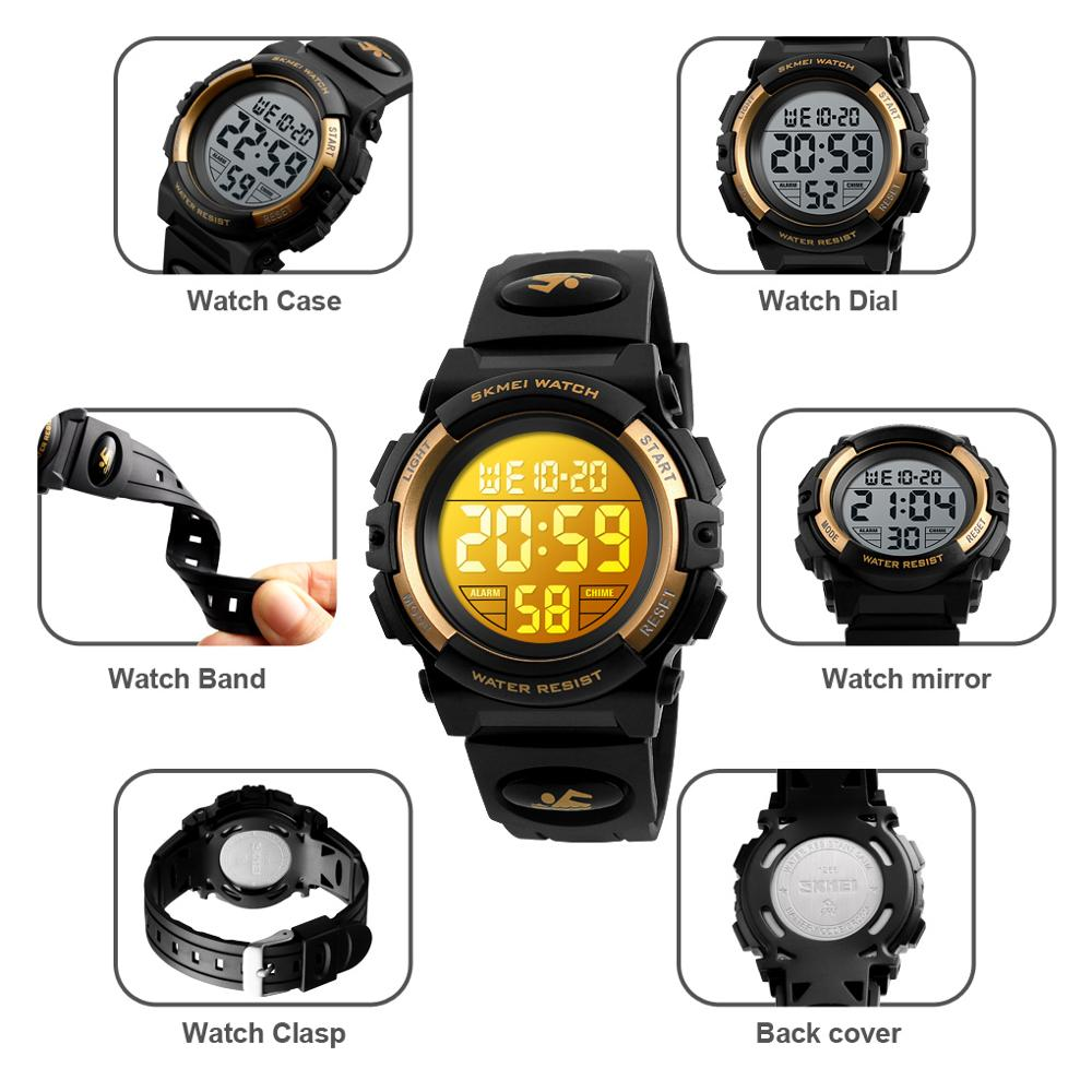 Image 5 - SKMEI Children LED Electronic Digital Watch Chronograph Clock Sport Watches 5Bar Waterproof Kids Wristwatches For Boys Girls-in Children's Watches from Watches