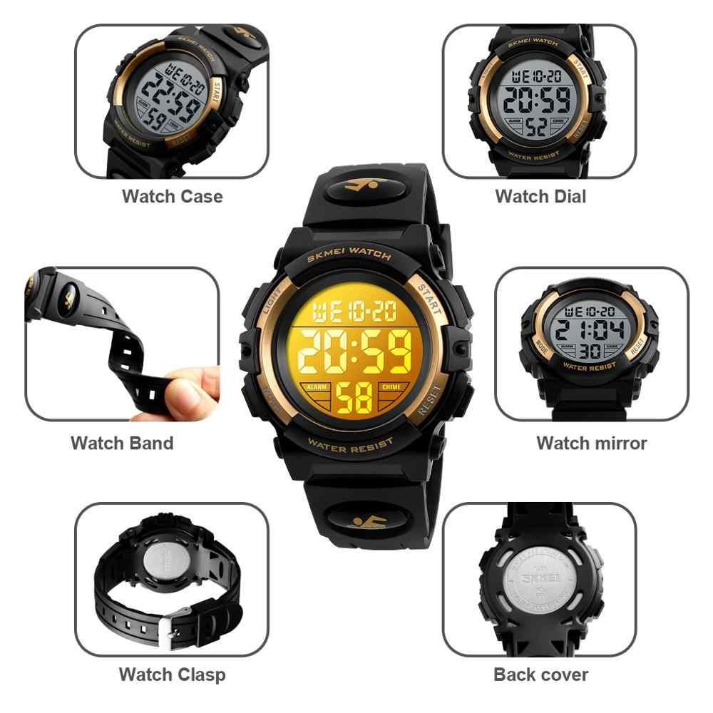 SKMEI дети светодиодный электронные цифровые часы хронограф часы спортивные часы 5 бар водонепроницаемые детские наручные часы для мальчиков и девочек