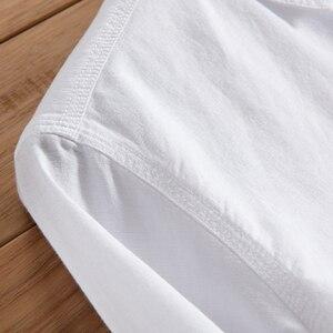 Image 3 - الربيع والخريف الرجال الموضة العلامة التجارية اليابان نمط سليم صالح القطن الكتان قميص طويل الأكمام الذكور قميص أبيض عادي استيراد الملابس