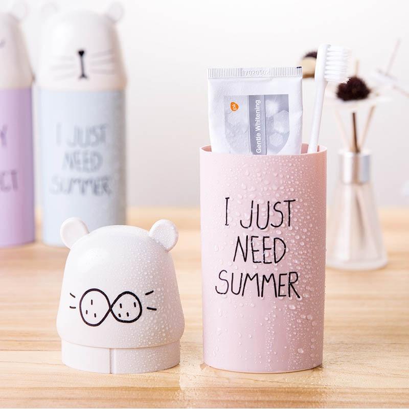 Plastic Toothbrush Holder 1 PC Water Bottle Travel Necessary Cartoon Potable Bathroom Accessories Set Toothpaste Storage Cup