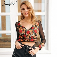 Simplee Sexy Flower Embroidery Blouse Shirt Women Cropped Mesh Black Blouse Female Blusas 2017 Autumn Long
