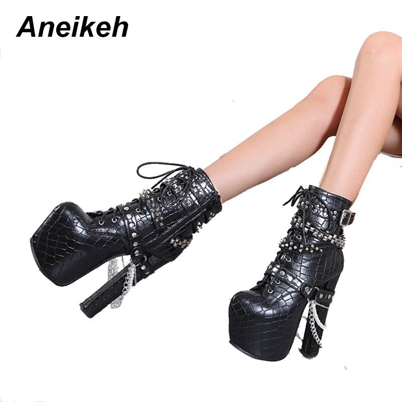 Aneikeh Zip En Métal Chaînes Rivet Moto Bottes Femmes Chaussures Super Haute Talons Plate-Forme Cheville Bottes Punk Rock Gothique Biker Bottes - 3