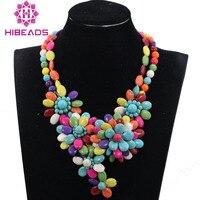 Romantische Chunky Blume Anhänger Halskette Multicolor Türkis Perlen Afrikanischen Hochzeit Halskette für Bräute Neues Freies Verschiffen TN169