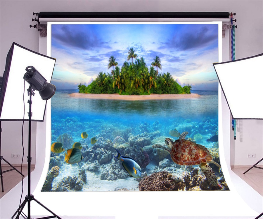 Laeacco Tropical Island Underwater Turtles Scenic Photography Backdrops Vinyl Photo Backdrop Custom Backgrounds For Photo Studio