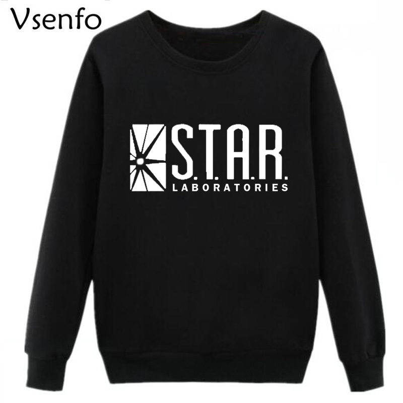 Vsenfo STAR Labs Sweatshirt Women The Flash STAR Laboratories Hoodies Crewneck Harajuku Pullover Superman Tv Series Hoody