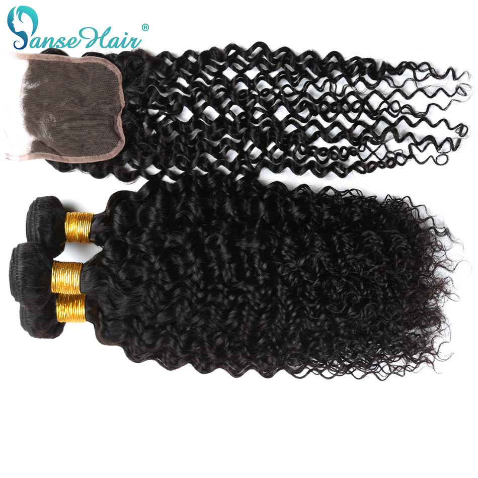 Panse Hair Peruvian Human Hair Weaving 3 PCS Weft With 1 PC Closure 4X4 Customized 8 To 28 Inches Kinky Curly Hair Non Remy