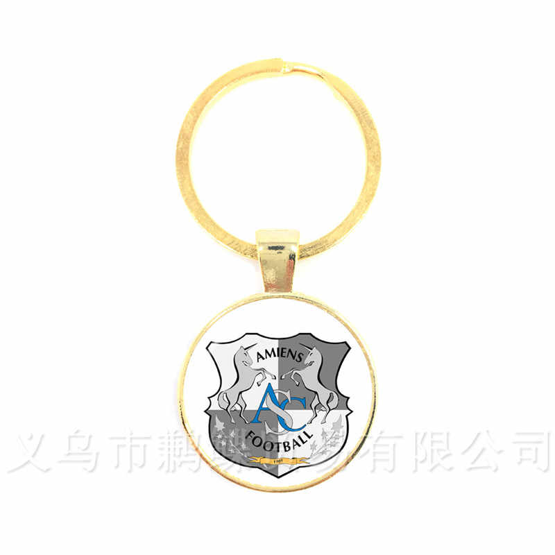 AS Monaco Football France Team Logo 25mm Glass Dome  Key Chain For Football Fans' Commemorative Gift