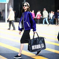 2018 New Spring Autumn Fashion Women Coat Black Blue Rose Red Loose Sweatshirts Stand Collar Baseball Outwear Sudaderas Mujer