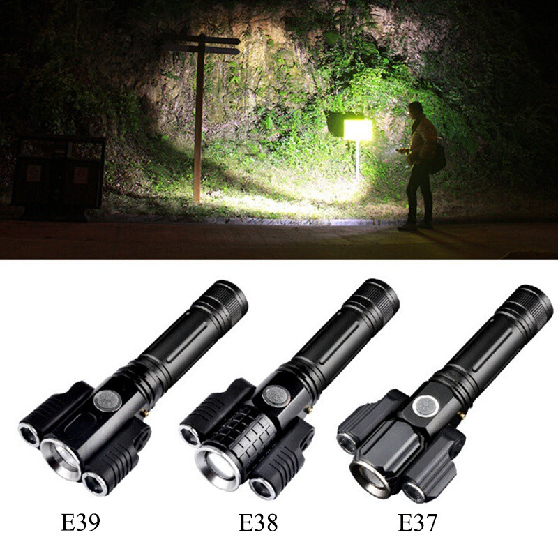 Outdoor Survival Tool Aluminum Alloy Waterproof Flashlight Multi-purpose Light Three-head Aircraft-shaped Lanterna With Battery