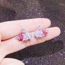 YUN RUO Cubic Zirconia Stone Swan Stud Earring S925 Silver Pin Hypoallergenic Woman Fashion Jewelry