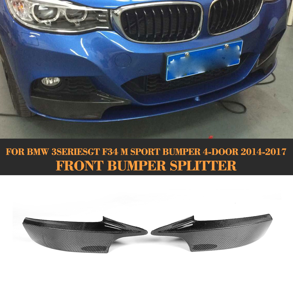 Carbon Fiber front bumper Lip Splitter Spoiler for BMW 3 Series GT F34 M Sport Bumper 4 Door 14-17 Grey FRP 2PC 335i 340i GT ginzzu s5050