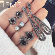 IF ME Vintage Crystal Water Drop Earrings Sets For Women Retro Silver Color Geometric Round Black Dangle Earring Pierce Jewelry