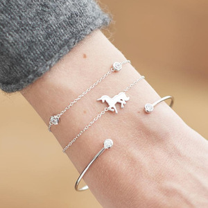 Boho Small Horse Bracelet Bangle Set Gold Silver Color Bohemian Jewelry Geometric Metal Chain Bracelets For Women Cuff Bangle