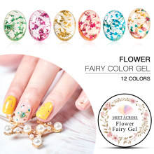 MEET ACROSS Floral UV Gel Varnish Dried Flowers Lucky Fairy Gel Polish 5ML Semi-permanent UV Soakoff Gel Nail Design Natural Gel(China)