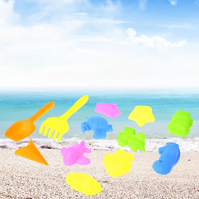 In New 12pcs Tiny Beach Sand Tools Toys Building Model Set For Kids Children Outdoor Shovel Rake Superior Quality