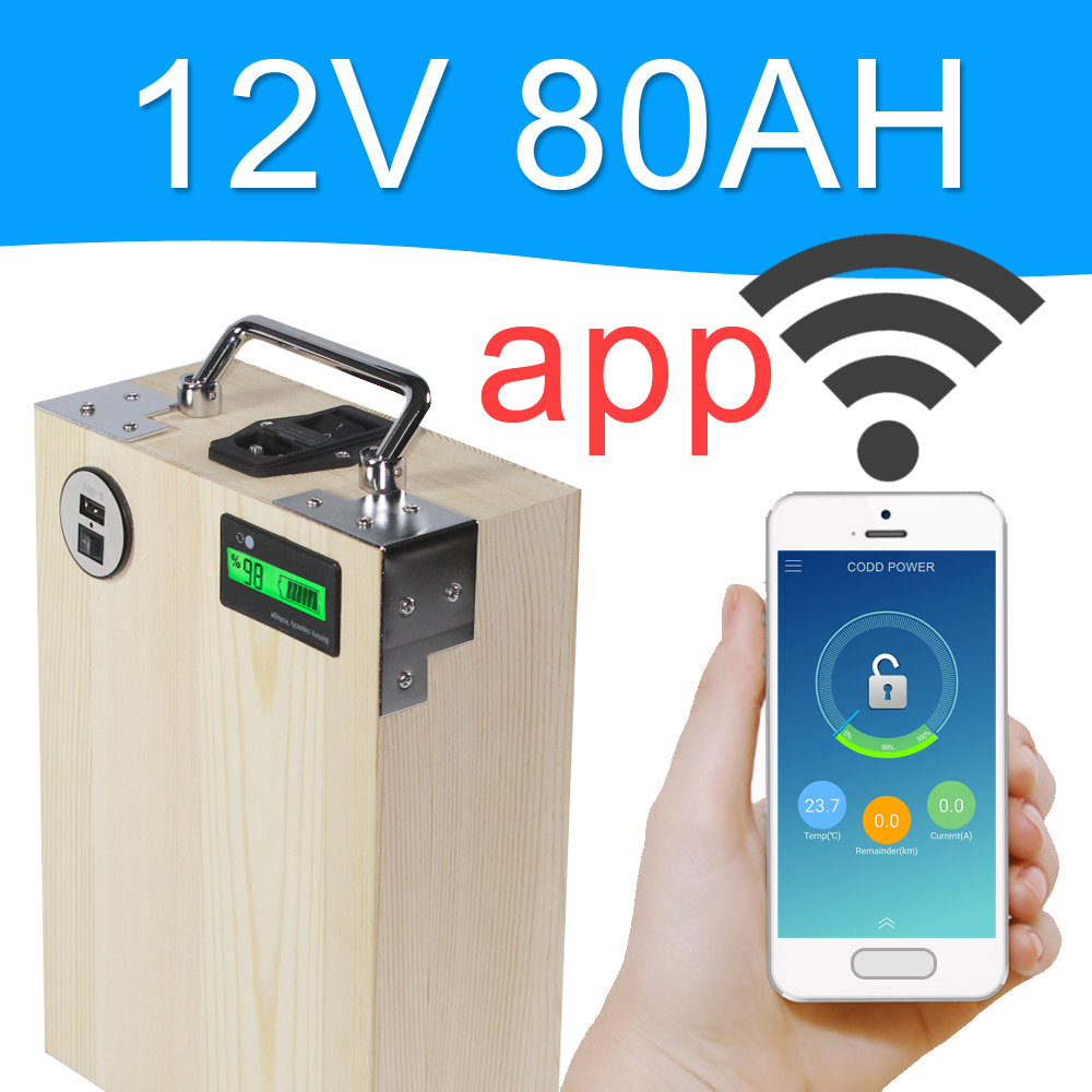 APP 12V 80AH Electric bike LiFePO4 Battery Pack Phone control Electric bicycle Scooter ebike Power 1000W Wood